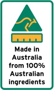 Made In Australia from 100% Australian Ingredients
